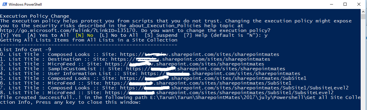 Get All Lists items in a site collection Using Power shell